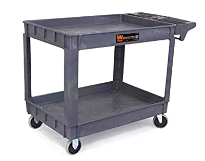 Great for Warehouse 550 LBS Capacity Heavy Duty Plastic Rolling Utility Cart Tub Carts w//Deep Shelves Cleaning Garage Goplus 2-Shelf Utility Cart//Service Cart with Wheels 43 x 25 x 40
