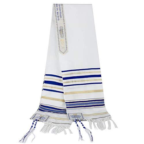 LOVMOV Jerusalem Tallit Messianischer Gebetsschal mit Talis-Tasche, Messianisches Siegel, christliches Zeichen für Männer und Frauen Gr. onesize, blau