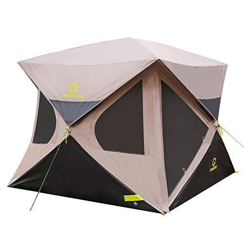 OT QOMOTOP Pop up Tent 4 Person for Camping, 80'' Center Height, Instant Hub Tent with Mesh Windows, Rainproof Family Tent with Rainfly