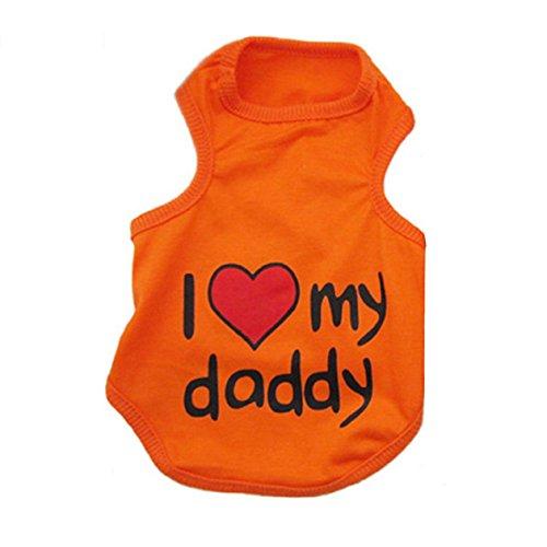 SODIAL(R) Moda ropa fresca Amante del chaleco de la camiseta para perrito perro gato Naranja - S