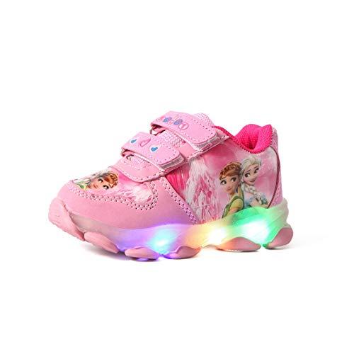 IRON JF Kinder Leuchtschuhe mädchen,Kinder led Schuhe,ELSA Schuhe,Kinder LED-Lichtschuhe, Mädchen Blitzlichtschuhe, mädchen Sneakers mit geschlossenem Mesh-Klettverschluss (Color : B Pink, Size : 28)