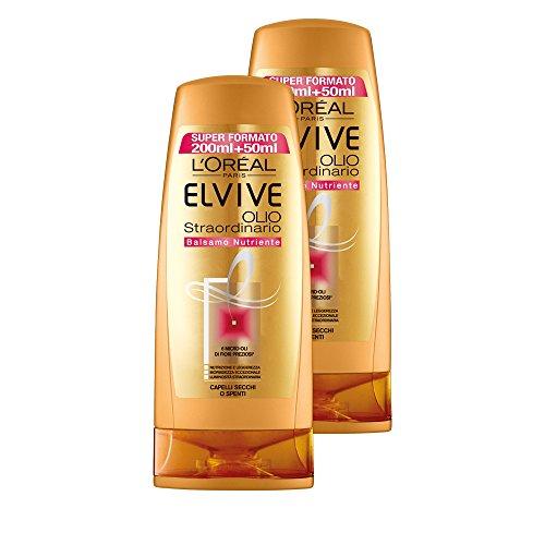 L'Oréal Paris Elvive Huile Extraordinaire Baume Nutritif pour cheveux secs ou coupés, 3 boîtes de 2 x 250 ml, Total : 1500 ml
