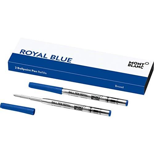 Montblanc 124491 - Refill (B) per penne a sfera, colore Royal Blue (Blu Reale) – Ricariche di alta qualità e colore intenso, punta: broad (spessa), 1 x 2 Refill
