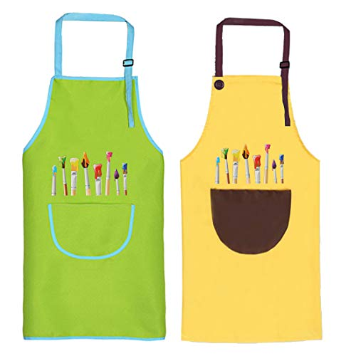 O-Kinee Kids Art Aprons, 2 Pcs Kids Apron with Pockets, Adjustable Children Chef...