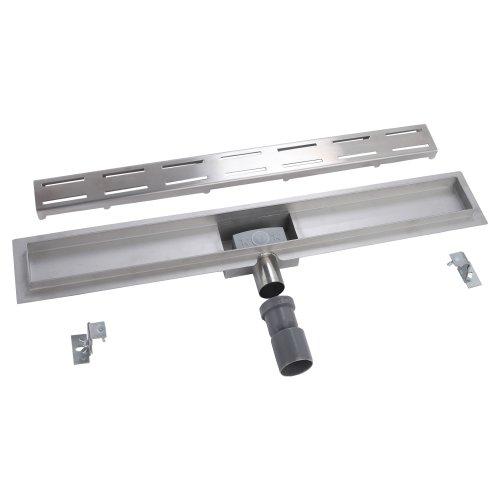 Doucheafvoer 100 cm 2 sleuven met vloerbevestiging (4 modellen, 12 afdekkingen, afmetingen 50 cm - 120 cm), DU4C10K