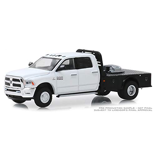 TRUCK 1/64 2018 Ram 3500 White Dually Flatbed - Dually Drivers Series
