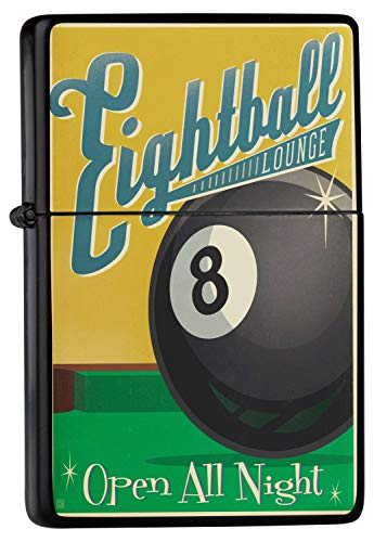 LEotiE SINCE 2004 Feuerzeug Schwarz Benzinfeuerzeug Sturmfeuerzeug Metallfeuerzeug Eightball Billiardkugel Acht