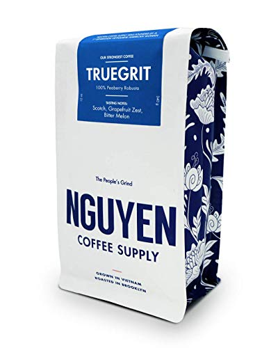 Truegrit Whole Peaberry Robusta Coffee Bean 12oz, Vietnamese Fair Trade Organic Single Origin Low Acid