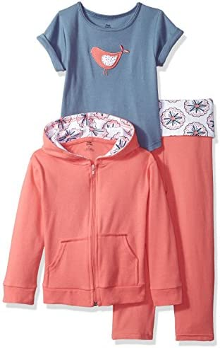 Yoga Sprout Baby 3 Piece Jacket Top and Pant Set Coral Bird Toddler 5 Toddler product image