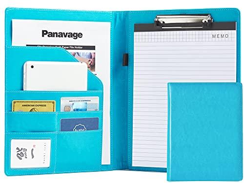 Panavage バインダー A4 革 クリップボード PU クリップ ファイル 二つ折り 多機能 ペンホルダー ポケット付き 名刺入れ メモ帳付き 水色