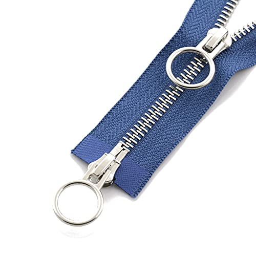 60/70/80/90/100/120/150cm doble círculo Sliders cerradura auto Zipper, Azul eléctrico, 5, 70cm