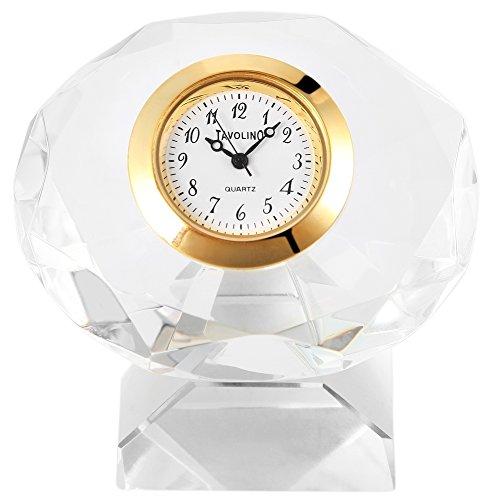 Tavolino Analog Miniaturuhr Tischuhr Standuhr mit Quarzwerk und Motiv Kristall 300402000084 Goldfarbiges Gehäuse 5,6 cm
