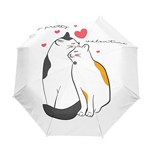 Amor Blanco Gato Gatito Corazón Paraguas Plegable Hombre Automático Abrir y Cerrar Antiviento Protección UV Ligero Compacto Paraguas para Viajes Playa Mujeres Niños Niñas