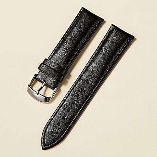 YXBDN Correa de Reloj de Cuero 14 mm 16 mm 18 mm 20 mm 22 mm Correa de Reloj para Mujeres Hombres Accesorios de Reloj Hebilla sólida Marrón Azul Rojo (Color : Black, Size : 14mm)