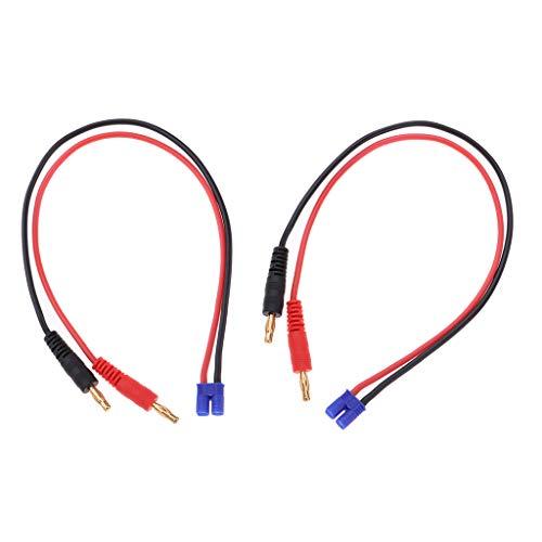 perfeclan 2X Cable de Carga de Batería RC 4 Mm Banana Connect Cable de Cargador EC2 Macho