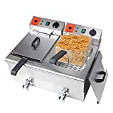 Valgus Dual Tanks Electric Deep Fryer 3000W 240V 24L Large Capacity Stainless Steel Countertop Kitchen Frying Machine with Basket & Lid, Drain System for Restaurants Commercial Uses