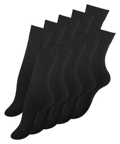 VCA 10 Paar Damen Socken schwarz, COMFORT, Ohne Gummibund, Baumwolle. Gr. 39-42