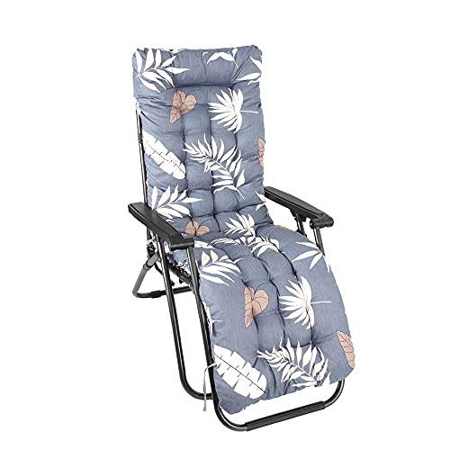qeryuyh Cojín para Tumbona de 47 Pulgadas cojín de Repuesto para Tumbona Grueso para jardín Patio Relajante para Silla para sillón reclinable sillón de jardín Interior (Hojas Grises)