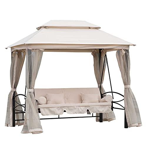 Outsunny Balancelle de Jardin 3 Places Convertible Style Colonial Grand Confort 2 Coussins + Matelas + moustiquaires Inclus Noir Beige