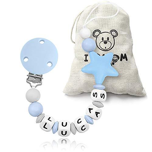 RUBY - Chupetero Personalizado para Bebé con Nombre Bola Silicona Antibacteriana con Pinza de Plástico, Chupetero Estrella (Azul)