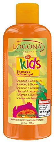 LOGONA Natuurcosmetica shampoo & douchegel, reinigt huid en haar bijzonder zacht, hydrateert de huid, veganistisch, 200 ml