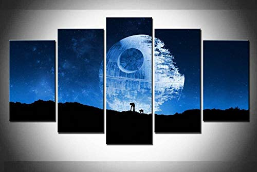 45Tdfc 5 Panel Wall Art Arte Abstracto Star Wars Death Star Full Pintando la impresión de la Pintura en Lienzo Pictures para decoración de casa Pieza de Regalo de Firstwallart