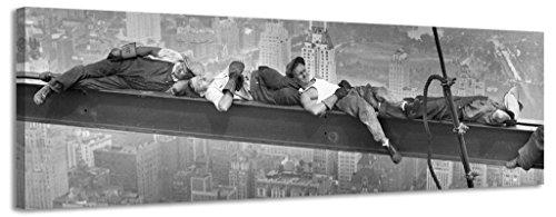 Tela da prete con lavoratori di New York, vintage, in bianco e nero, Black/White, 158x46cm