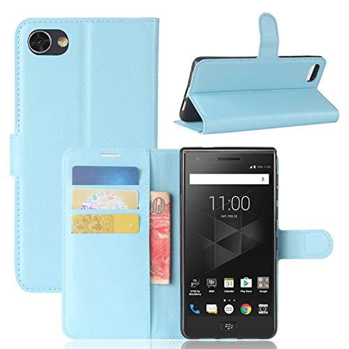 Sangrl Leder Lederhülle Schutzhülle Für BlackBerry Motion, Wallet Tasche Für BlackBerry Motion, mit Halterungsfunktion Kartenfächer Flip Hülle Himmelblau