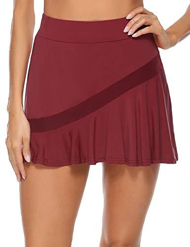 Akalnny Gonna Sportiva da Donna con Pantaloncini da Tennis Sportiva Mini Skirt Ginnastica Gonna per Golf, Yoga, Tennis, Palestra (Vino Rosso, S)