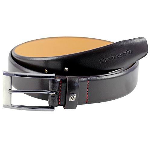 Pierre Cardin Mens leather belt/Mens belt, leather belt curved, dark brown, Size:85