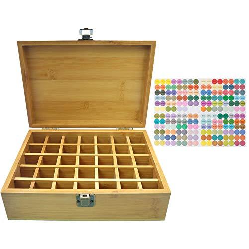 MKNZOME 35 Ranuras Caja de Aceite Esencial de Madera Exhibición Cosmética de Bambú Natural Aceite Contenedor Estante de Presentación Ideal para Perfume y Aceite Perfumado y Esmalte de Uñas#4
