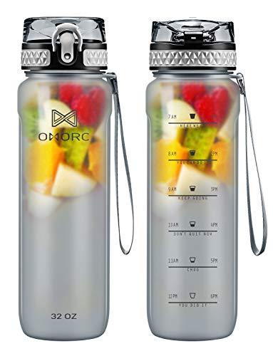 OMORC Sport Trinkflasche, 900ML Sport BPA Frei Auslaufsicher Wasserflasche Kunststoff Sporttrinkflaschen Plastik für Kinder Schule, Fahrrad, Trinkflaschen Filter Liter Kohlensäure Geeignet