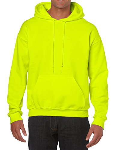 Gildan Men's Heavy Blend Fleece Hooded Sweatshirt G18500, Safety Green, X-Large