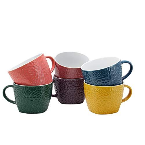 Elama Garden Glee Luxe 6 Piece 18 oz Mug Set in Assorted Colors