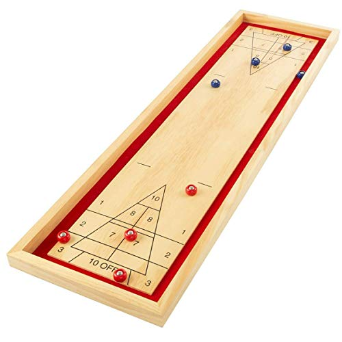 Read About 45x13 inches Pinewood Tabletop 8 Pucks Shuffleboard Game Set Durable Sturdy Heavy Duty Po...