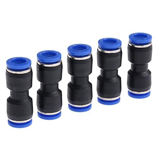 5pcs Accesorios neumáticos de los conectores neumáticos del sindicato Push In Conector Ajuste rápido para el tubo de agua de aire 8mm Agujero a 8 mm DUO ER
