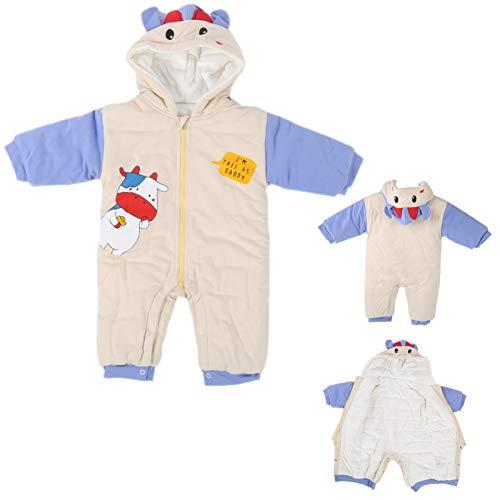 Mameluco con capucha, mono lindo para bebé, mono engrosado, uso infantil para niños, invierno frío(Beige, 66cm)