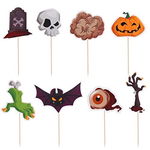 Amosfun 96pcs Kuchendekoration Halloween-Kürbis Papier Geist kreativ sicher Dessert Pick Kuchendekoration Kuchendeckel Partei liefert