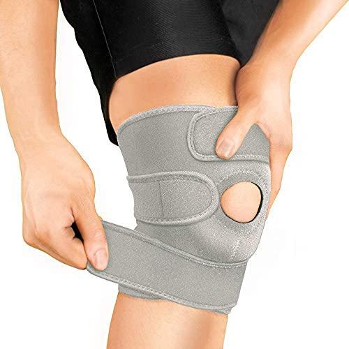 BRACOO KS10 Kniebandage Sport und Alltag - Kniestütze mit Klettverschluss & Pads für Damen und Herren, Laufen, Wandern, Joggen, Sport, Volleyball (GRAU)