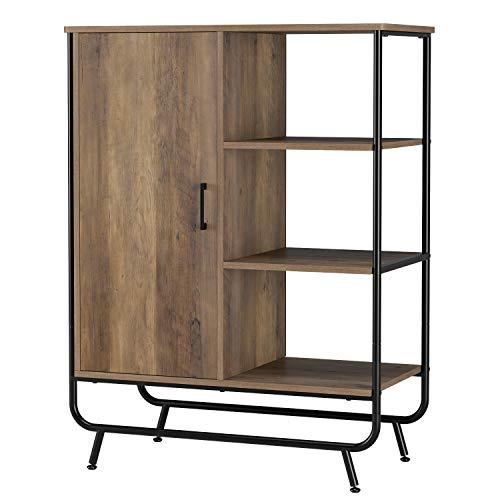 HOMECHO Industrial Storage Cabinet, Floor Standing Cabinet with Door and 3 Shelves for Storage and Display, Accent Sideboard Cupboard Side Table for Living Room Bedroom Hallway Kitchen, Rustic Brown