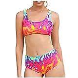 POachers Bikinis Mujer Estampado Traje de Baño de Dos Piezas Sexy Push Up con Relleno,Bañadores Cuello Hálter Natacion Playa Verano Fiesta Piscina Tops y Braguitas 2 Piezas