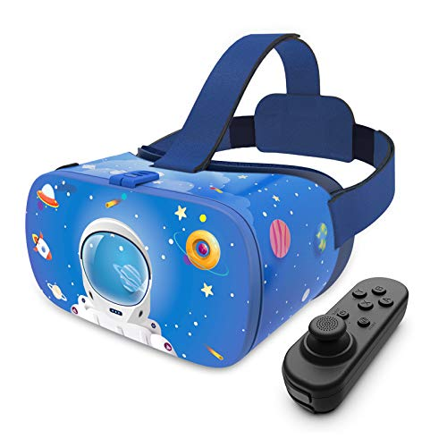 DESTEK VR Brille für Kinder, 3D-Educational 110°FOV Anti-Blaulicht Augenschutz HD Virtual Reality-Headset für iPhone & Samsung, mit Bluetooth-Controller für Android