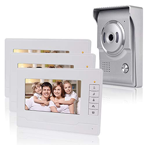KDL Nuevo Diseño Sistema de Intercomunicación de Video Inteligente el Hogar Timbre de video de 7 pulgadas puerta teléfono, Cámara impermeable al aire libre con monitor para el hogar (3 Monitor)