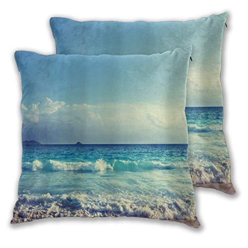 YUDILINSA Funda de Cojín Suave,Ocean Waves Beach Bule Cielo Nubes,Funda de Almohada Cuadrado para Sofá Cama Decoración para Hogar 65x65cm,Set de 2