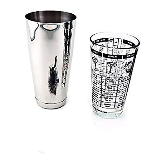 Brillante 3 Piezas de la coctelera de Cristal de Plata de medición de la coctelera Camarero Kit de Inicio con el tamiz de 700 / 400ml Bar Set de Accesorios Mezcla (Color : 2Pcs)