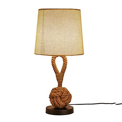 HNWNJ Lámparas de escritorio Estudio de decoración de interior Tabla dormitorio de la lámpara de la sala de la personalidad europea diseño de la cuerda lámpara de mesa de noche Bar creativo Cáñamo Ind