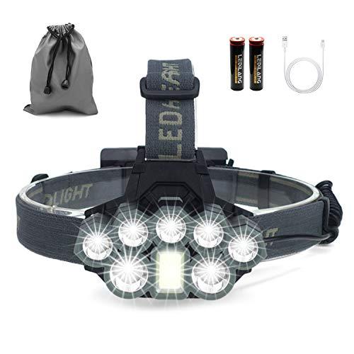 Stirnlampe, 8 LED 18000 Lumen Kopflampe, Superheller USB Wiederaufladbare Wasserdicht Leichtgewichts Stirnleuchte für Camping, Fischen, Laufen, Joggen, Wandern, Lesen, Arbeiten