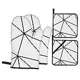 DearL Zara Mono geometrico bianco nero guanti da forno e presine 4 pezzi set guanti da forno resistenti al calore per cottura sicura grigliate barbecue