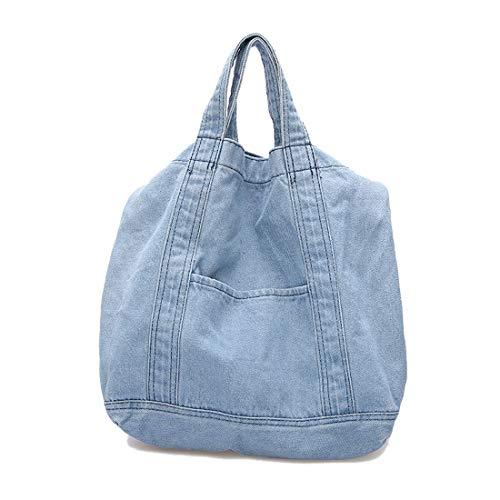 Bolso de hombro de tela vaquera para mujer, estilo retro, con cremallera, estilo casual y vintage, para mujer, color Azul, talla XL