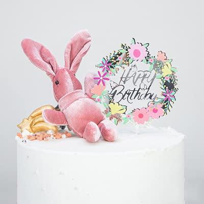 xuyang Decoración para tarta de feliz cumpleaños, decoración de pastel de oro, plata, acrílico, decoración de postres, baby shower, suministros de horneado (color: 15)